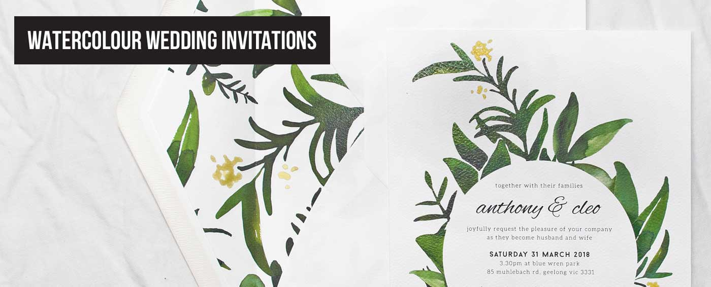 Papermarc | Buy Watercolour Wedding Invitations Online Australia