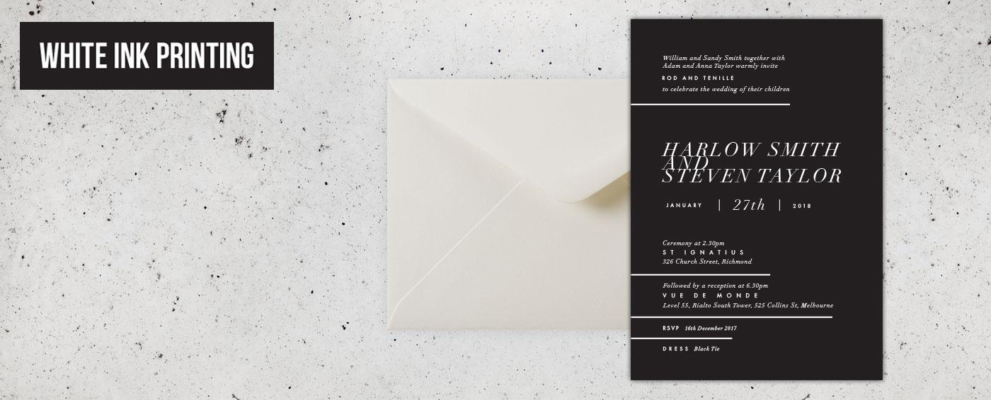 Buy White Ink Wedding Invitations Online Australia   Papermarc