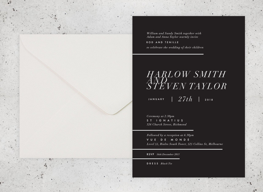 Atlanta Wedding Invitations: Atlanta Monochrome Wedding Invitation