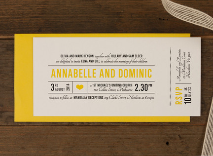 Canary wedding invitation papermarc melbourne australia stopboris Gallery