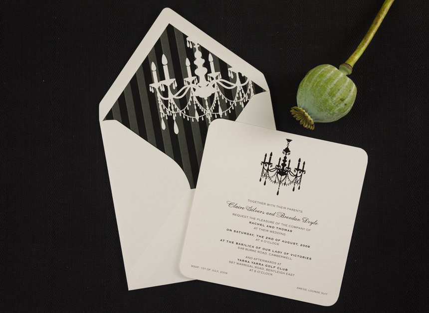 Chandelier Wedding Invitations: Papermarc Melbourne, Australia