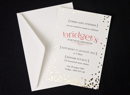 Birthday invitations and stationery papermarc melbourne australia confetti gold foil birthday invitation filmwisefo Images