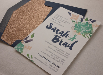 Succulent Watercolour Wedding Invitation papermarc Melbourne Australia
