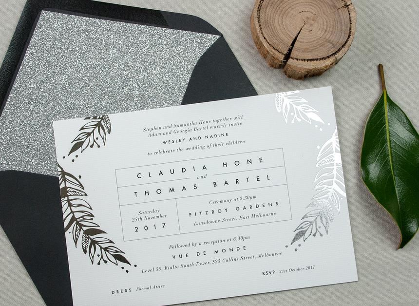 Foliage Silver Foil Wedding Invitation Papermarc