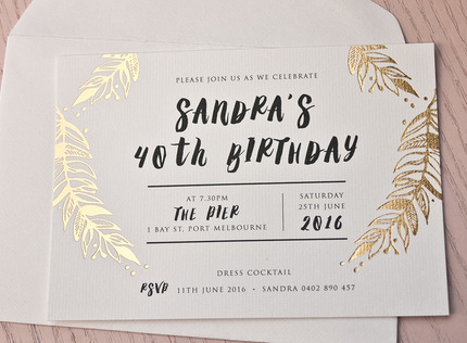 foliage gold foil birthday invitation