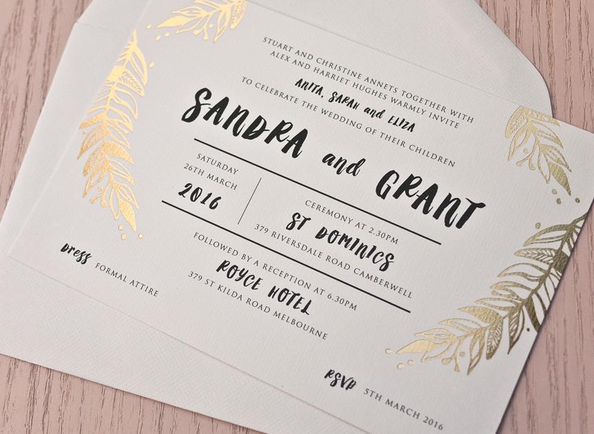 Foil Wedding Invitations.Foliage Gold Foil Wedding Invitation Papermarc Melbourne